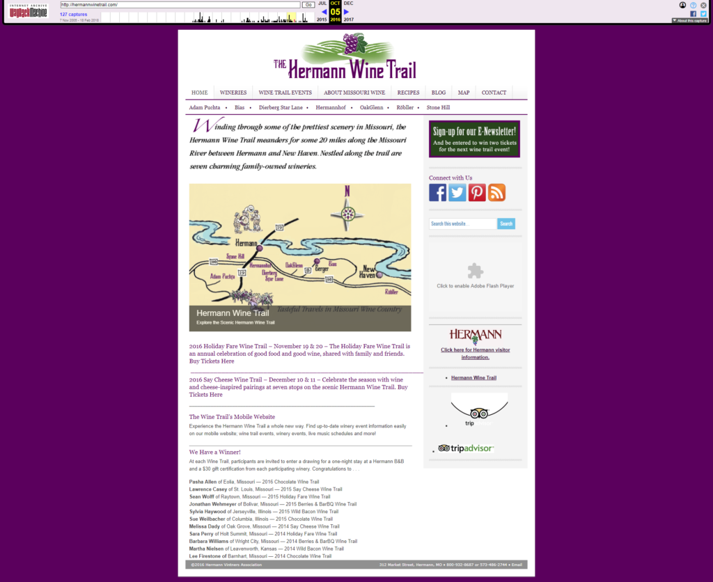 Hermann Wine Trail Case Study - Old Website