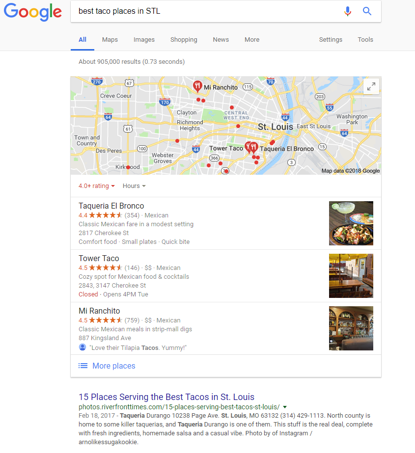 Local SEO SERP