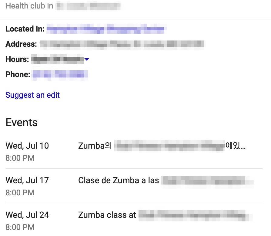 Gym events listing in Google My Business