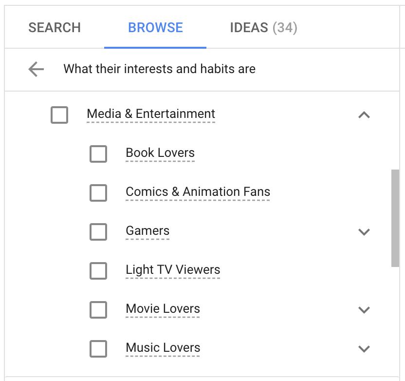 Affinity audiences targeting on YouTube